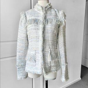 QUEENA WANG Vintage Fringed Tweed Blazer